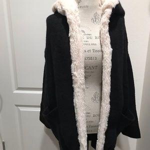 Zara black oversized hooded Cardigan with pocket